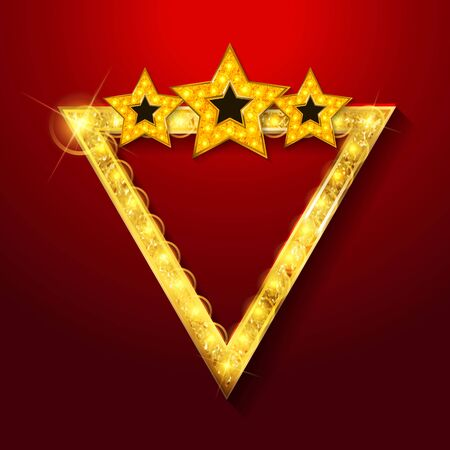 Shining gold retro triangular light banner on red background. Vector illustration
