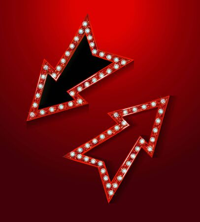 Neon marquee, vector retro arrow sign with light bulbs. Realistic 3d for casino, theater, cinema, vintage cafe. Vector illustrati9on