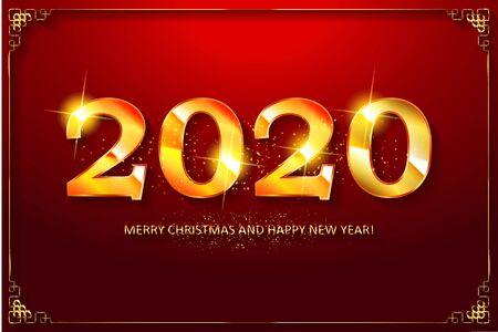 Happy New Year 2020 Design. Vector illustration  イラスト・ベクター素材