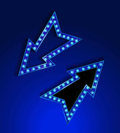 Blue Neon marquee, vector retro arrow sign with light bulbs. Realistic 3d for casino, theater, cinema, vintage cafe. Vector illustrati9on
