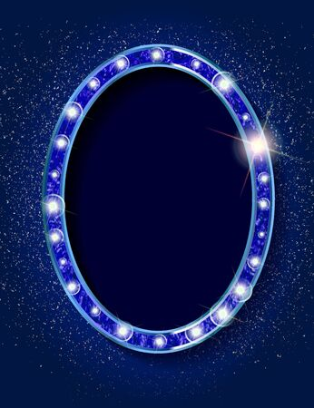 Blue 3d Vintage oval frame with a blank space for your text, messages, advertising, promotion. Gold frame with blue neon light. Vector illustration  イラスト・ベクター素材