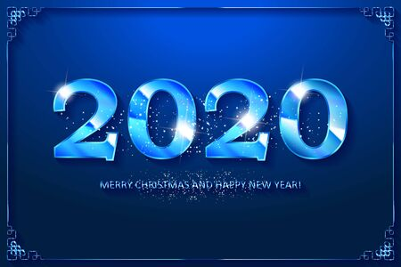 Happy New Year 2020 Blue Design. Vector illustration  イラスト・ベクター素材