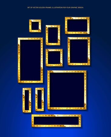Set of gold banners in vintage style. Frames with shining lights. Blue background. Vector illustration.  イラスト・ベクター素材
