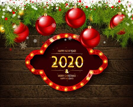 Merry Christmas greeting card with Chrirstmas decor fir twigs and confetti, vector illustration. On wooden background with sequins Standard-Bild - 131591134