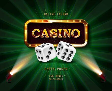 Shining sign Casino banner illuminated by spotlights. Vector illustration.