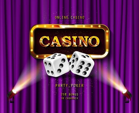 Shining sign Casino banner illuminated by spotlights. On the backdrop of a purple curtain. Vector illustration.  イラスト・ベクター素材