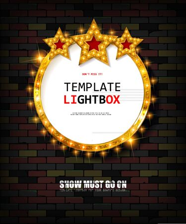 Retro banner with bulbs for your projects. Light banner, vintage billboard or bright signboard. Cinema or theatre lightbox frame for ads. Against a vintage brick wall. Modern vector illustration.