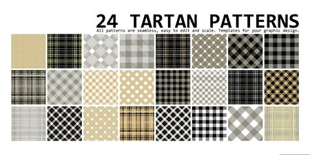 Big plaid pattern set. 24 seamless tartan patterns. Vector illustration  イラスト・ベクター素材