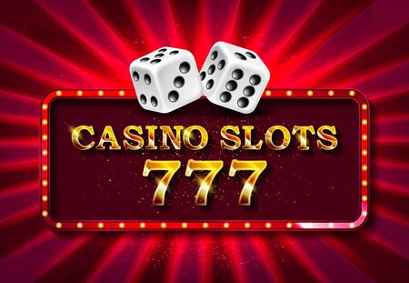 illustration on a casino theme with shiny neon light letter and poker cards on red background. Gambling design for invitation or promo banner with dice.