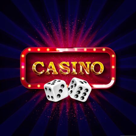 The word Casino, surrounded by a luminous explosion, on a transparent background. The new, best design of the luck banner, for gambling, casino, poker, slot, roulette or bone.