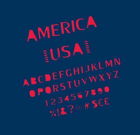 USA Font. Alphabet, numbers and symbols stylized by Unites State of America color. Vector set 向量圖像