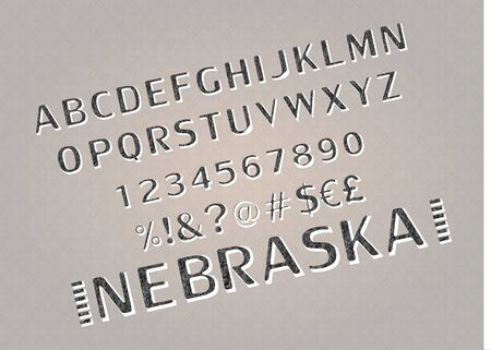 Font. Alphabet. Script. Typeface. Label. Modern Nebraska typeface For labels and different type designs