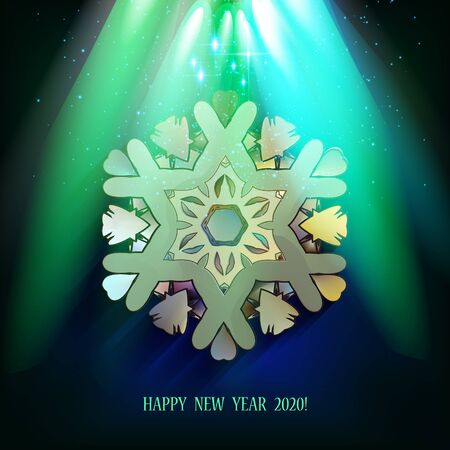 Happy New Year 2020. Snowflakes shine from the spotlights. Night forest and illuminated scene. Winter background. Snowfall.