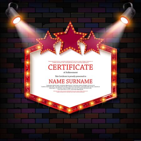 Luxury certificate with spotlights or diploma template against a vintage brick wall. For your design.. Vector illustration