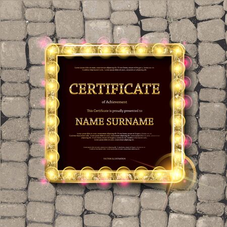 Gold frame in vintage retro style on the background of stone pavers. Gift certificate template. Vector illustration Ilustrace
