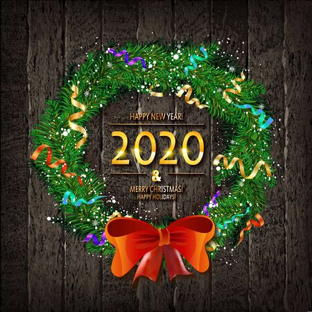 Christmas wreath on wooden background. Merry Christmas and happy new year 2020. Greeting card. Vector illustration Illustration