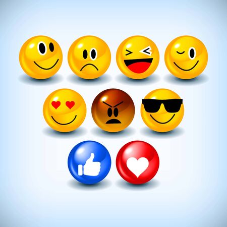 Emoji Feeling Faces Vector. Communication Chat Elements in yellow ball bubble 3D face. Lovely social media icon stickers. Modern and Creative design in EPS10 vector illustration.