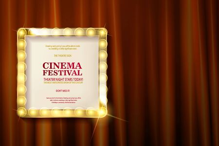 Cinema festival. Theater sign or cinema sign on red curtain. Gold retro signboard. Vector illustration