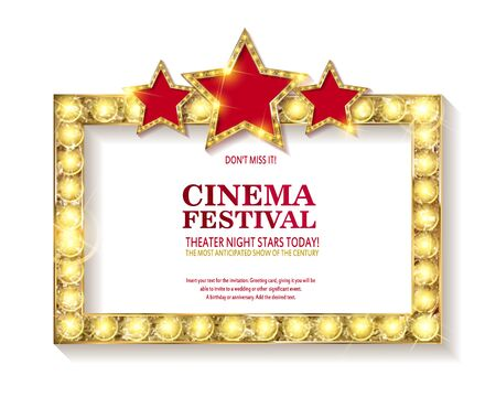 Cinema festival. Blank marque gold frame with light bulbs isolated on white background. Vector illustration