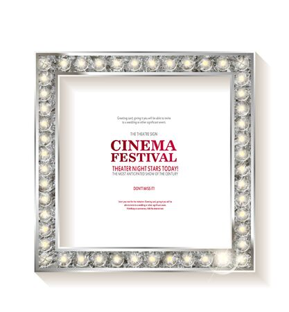 Cinema festival. Blank marque silver frame with light bulbs isolated on white background. Vector illustration