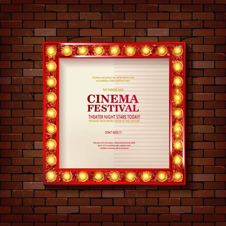 Bright gold marquee with light bulbs on a brick background. Vector retro electric sign with copyspace inside the frame. Retro Cinema sample text. Cool for casino, cinema, disco or party advertisement. 向量圖像
