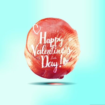 Red watercolor spot with handdrawn lettering Happy Valentine s Day on blue background. ector illustration