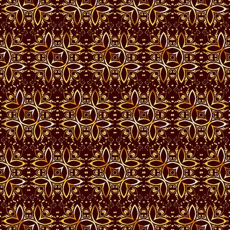 Ornament in the Turkish Mosque. Seamless gold Arabic pattern. Vector illustration