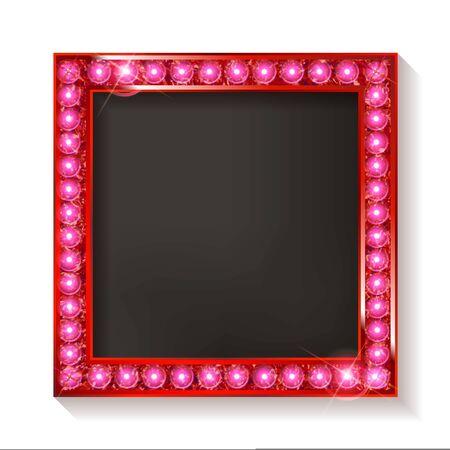 Red vintage frame isolated on white background. Vector illustration