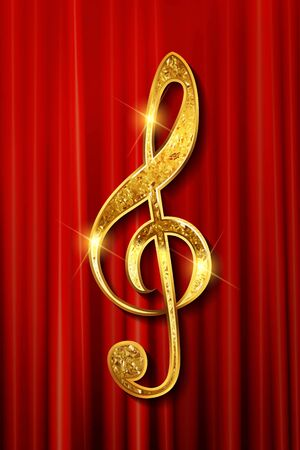 Gold ribbon in the shape of treble clef on a red curtain background - vector illustration Vettoriali