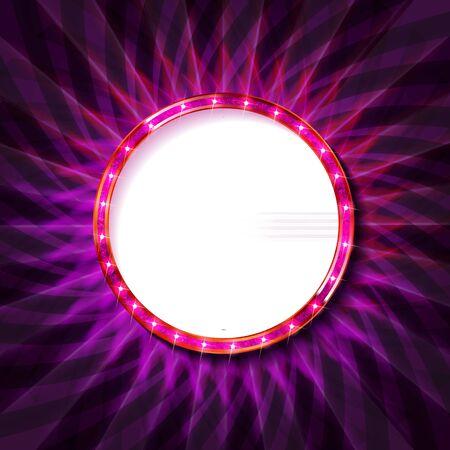 Pink neon round frame. Luminous swirling bunner. Shining circle light banner. Glowing spiral. Light Ring background. Abstraction geometric neon circle. Shine LED ellipse 3D illustrator