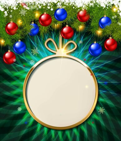 Empty Golden banner for text in the form of a Christmas ball. Against the background of fir branches and Christmas decorations. For your graphic design. Vector illustration