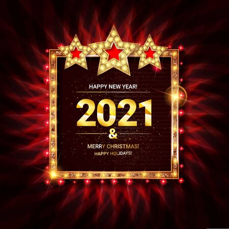 Invitation merry christmas party 2021 poster banner and card design template.Happy holiday and new year glass ball theme concept. In the retro cinematic style