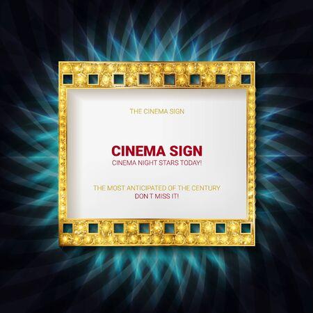 Gold Vector film strip illustration Banque d'images - 143560730