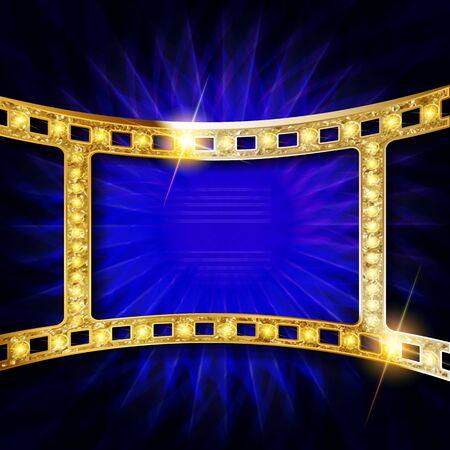 Gold Vector film strip illustration Banque d'images - 143561121