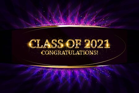 Class of 2021 Congratulations Graduates gold text with golden ribbons on dark background. Vector illustration 向量圖像