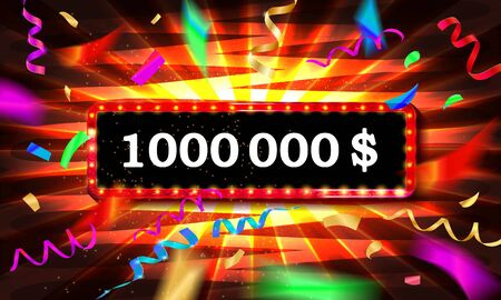 1.000.000 One million dollars. Metallic gold numbers. Vector Illustration. Beautiful inscription surrounded by confetti and ribbons in a frame on a luminous background Vectores