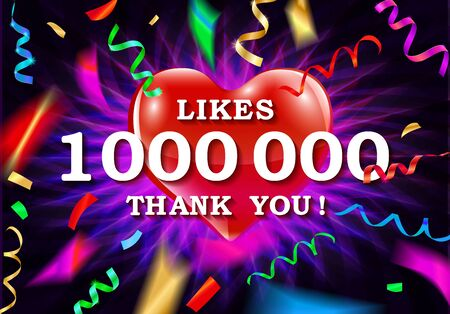 1,000,000 likes thank you banner, vector illustration