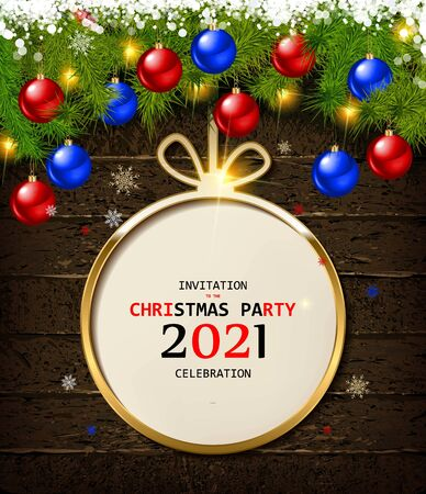 Christmas card in a Christmas ball on a wooden background. Beautiful branches of spruce and Christmas balls with snowflakes. Happy new year 2021 and merry Christmas. Vector illustration .