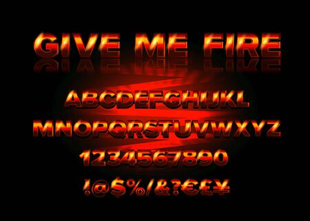 Fire Burning Latin Alphabet Font. Vector illustration. There are also numbers from 1 to 0. Beautiful letters for your graphic design
