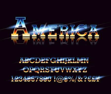 Vintage american font on retro background, EPS 10 contains transparency, layered vector file. Çizim