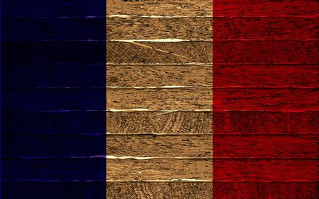 French flag painted on old wood plank background. Vector illustration