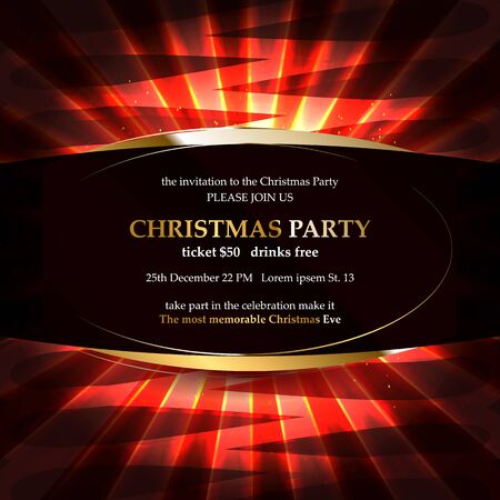 Xmas party glowing letters with light bulbs and a gold outline. Night party poster, greeting card, template for your design projects. Vector illustration