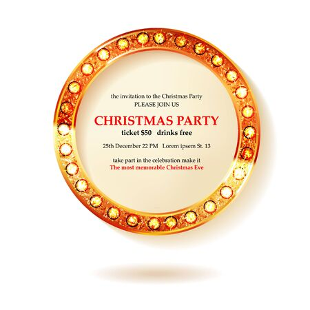 Invitation merry christmas party 2021 poster banner and card design template.Happy holiday and new year glass ball theme concept. In the retro cinematic style.  イラスト・ベクター素材