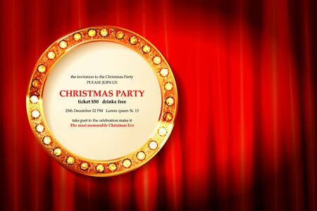 Invitation merry christmas party 2021 poster banner and card design template.Happy holiday and new year glass ball theme concept. In the retro cinematic style. On the background of a red curtain