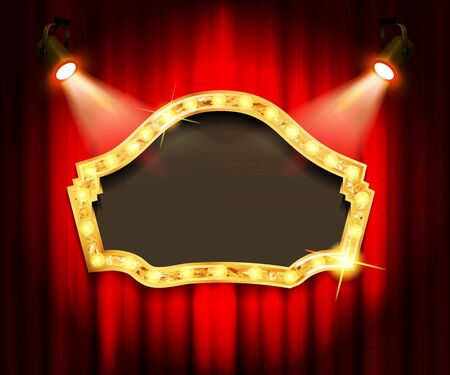 Theater sign on curtain. Vector illustration  イラスト・ベクター素材