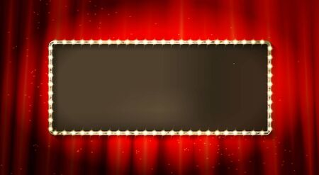 Red theater curtain and blank frame with lamps, show or concert banner template vector. Textile or fabric, hall decoration and framework, backdrop  イラスト・ベクター素材