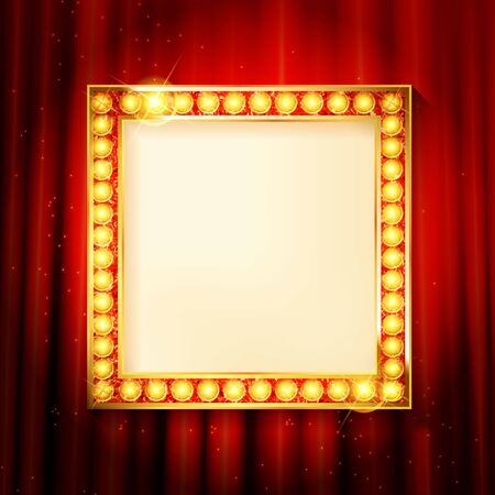 Suspended gold frame on the red curtain background. Square presentation artistic poster and placard. Vector illustration Archivio Fotografico - 148257826
