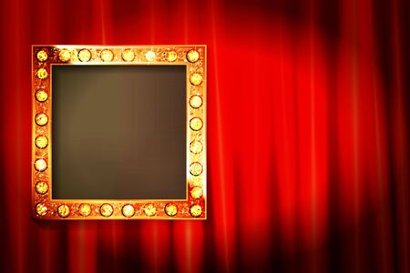 Suspended gold frame on the red curtain background. Square presentation artistic poster and placard. Vector illustration  イラスト・ベクター素材