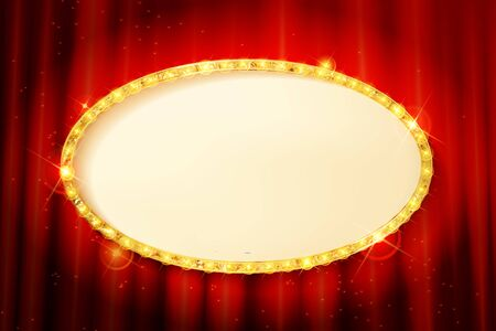 Oval Golden frame on the background of a red curtain. Vector illustration Archivio Fotografico - 148301025