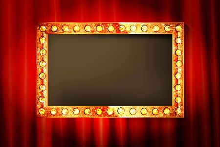 Empty golden frame with light bulbs on red curtain - place for your text. Vector illustration.